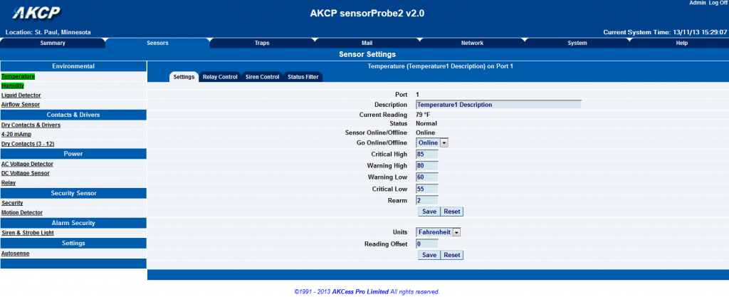 AKCP sensorProbe2 Web Interface