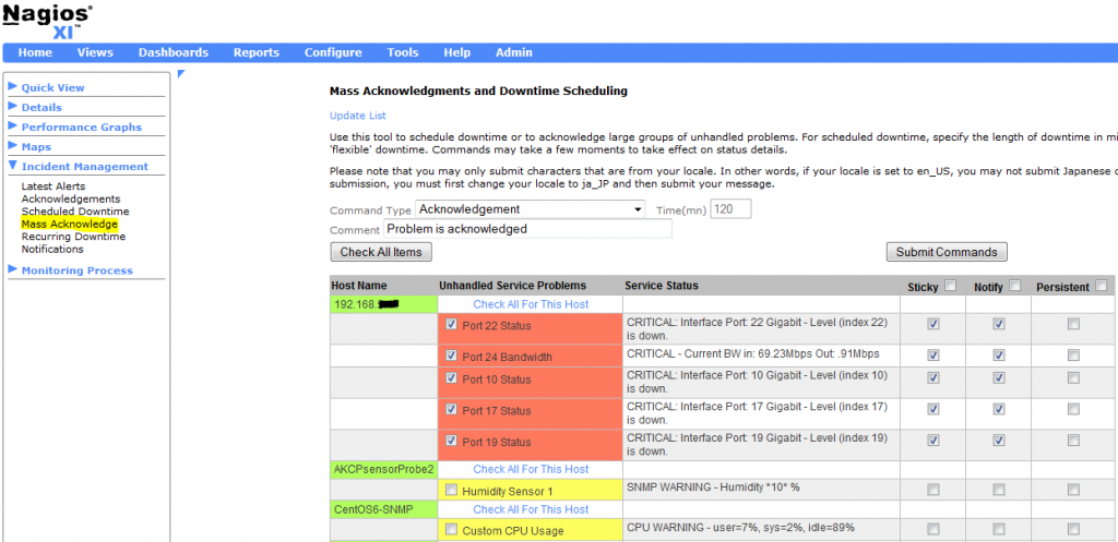 Mass Acknowledgements and Downtime Scheduling in Nagios XI