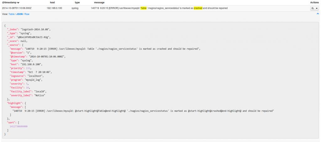 Nagios Log Server - JSON Details