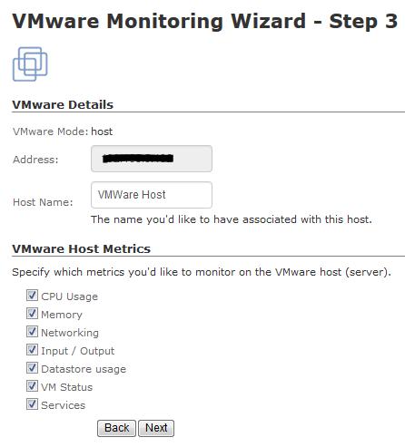 VMWare Monitoring Wizard - Nagios XI