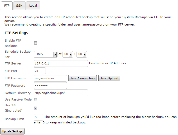 FTP Settings For Scheduled Backups Within Nagios XI 2014