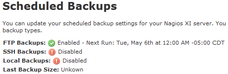 Nagios XI 2014 Scheduled Backup Component