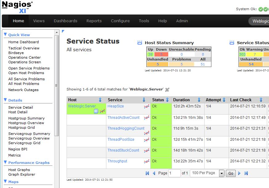 Nagios XI Service Status Dashboard