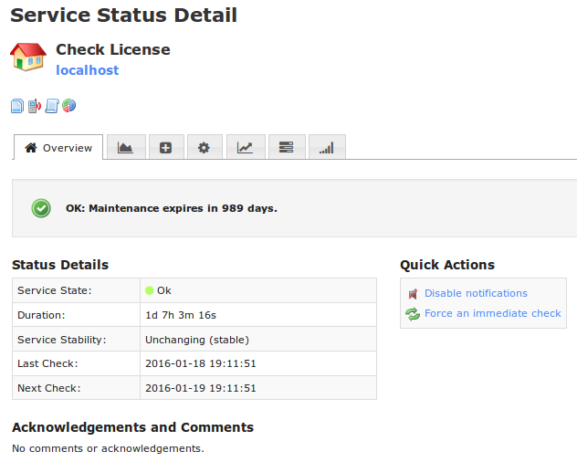 service detail screen of license check status in nagios xi