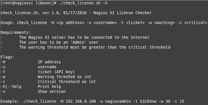 nagios license status check